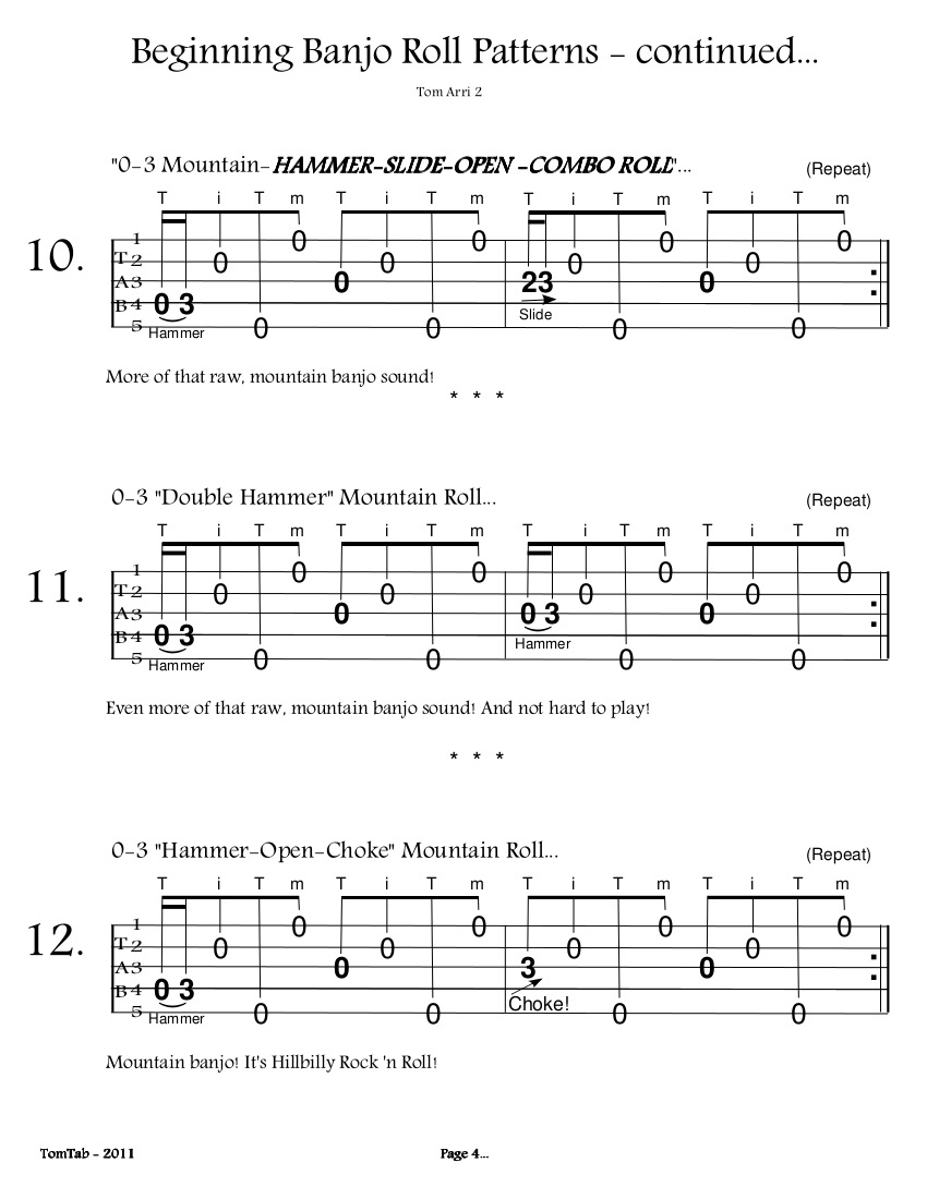 Beginning Banjo Rolls – Page 4 | BanjoTom2 Org - Banjo